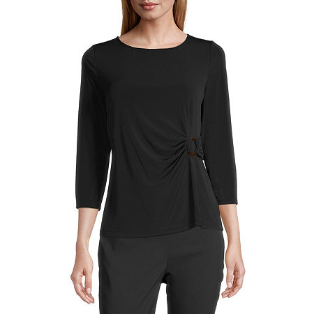 Liz Claiborne Womens Round Neck 3/4 Sleeve Blouse, Petite Medium , Black
