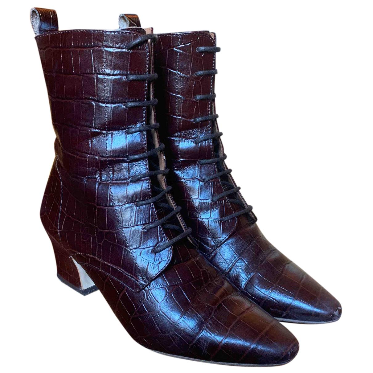 Miista N Brown Leather Boots for Women 36 EU