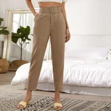 Pantalones Bolsillo Liso Caqui Elegante