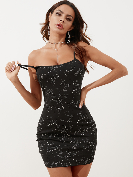 YOINS Black Glitter Star Square Neck Spaghetti Strap Dress