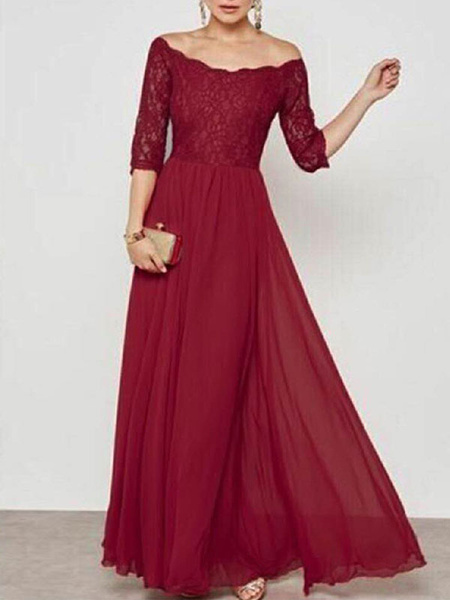 Milanoo Maxi Summer Dress Half Sleeve Square Neck Blue Split Casual Long Dress