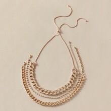 3pcs Rhinestone Decor Chain Necklace