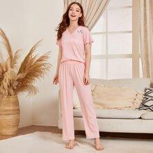 Schlafanzug Set mit Panda Muster und kurzen Ärmeln