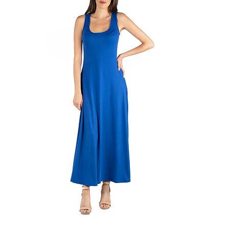 24/7 Comfort Apparel Slim Fit A Line Sleeveless Maxi Dress, Small , Blue