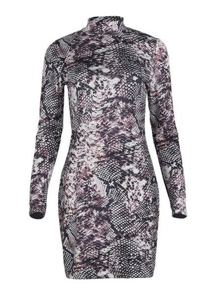 Milanoo Bodycon Dresses Animal Print Stand Collar Long Sleeves Pencil Dress