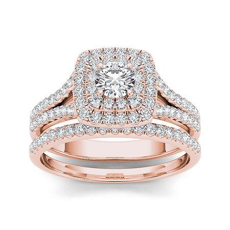 1 CT. T.W. Diamond 10K Rose Gold Bridal Ring Set, 9 , No Color Family
