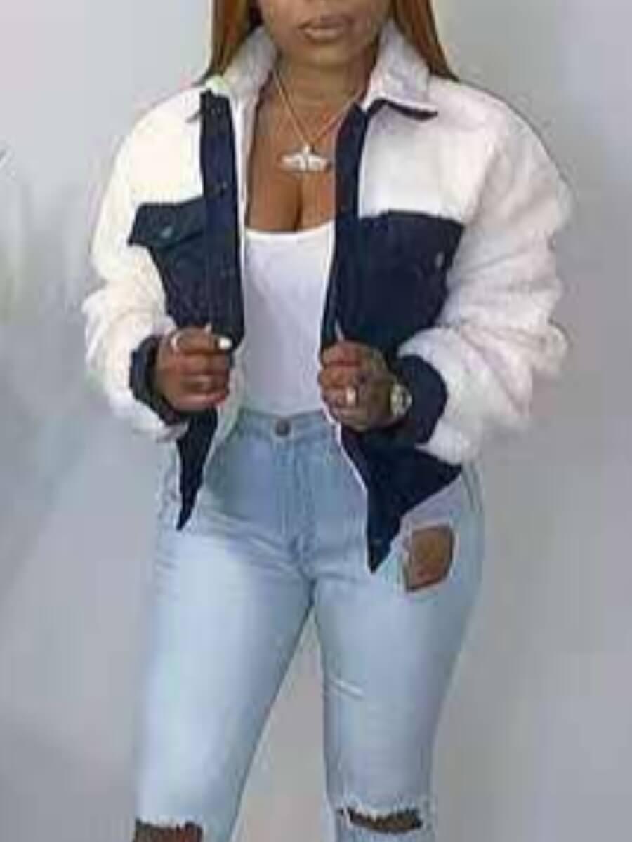 LW Lovely Stylish Turndown Collar Patchwork Blue Faux Fur