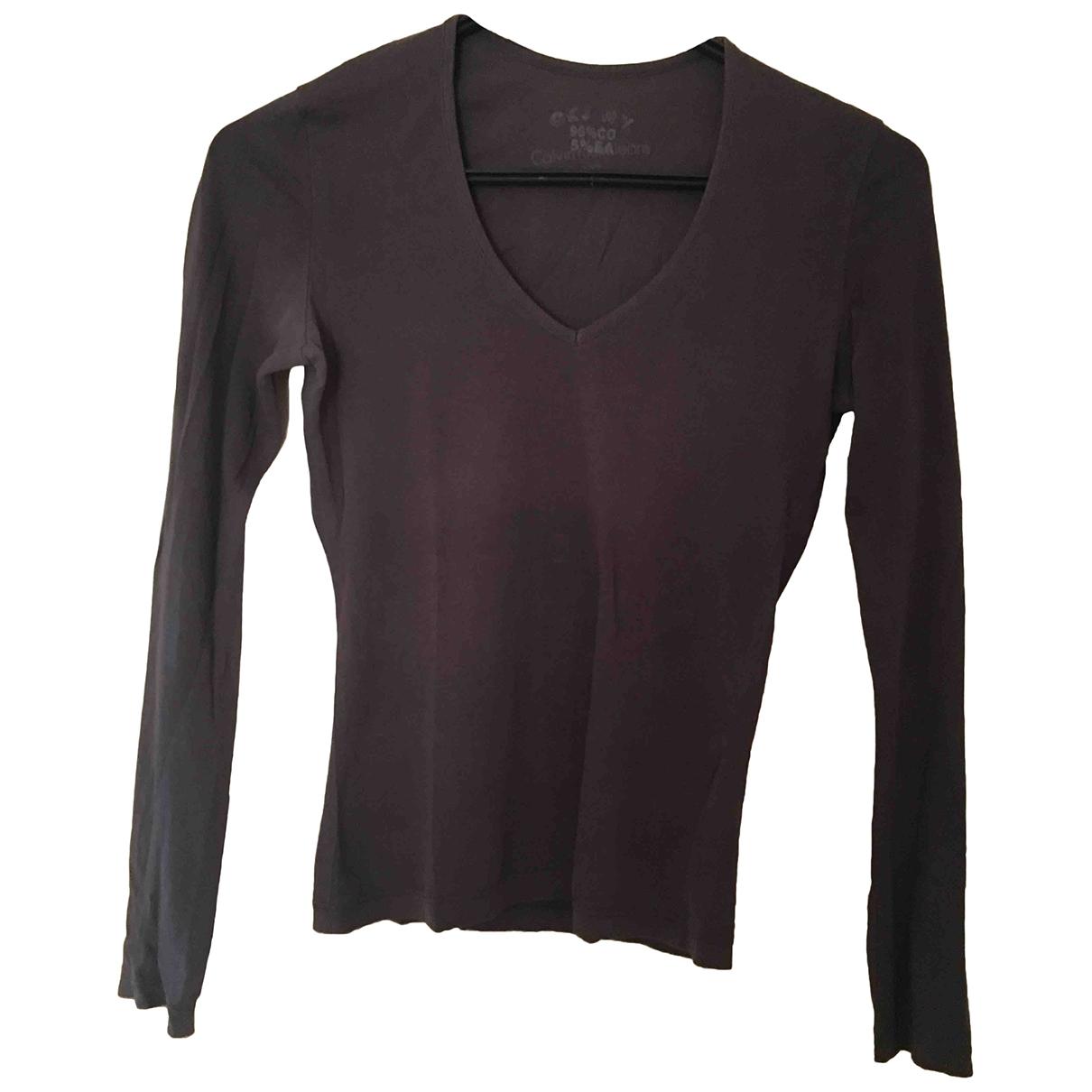 Calvin Klein - Top   pour femme en coton - gris