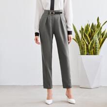 Pantalones Cremallera Liso Elegante
