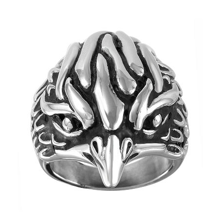 Mens Two-Tone Stainless Steel Eagle Ring, 9 , No Color Family