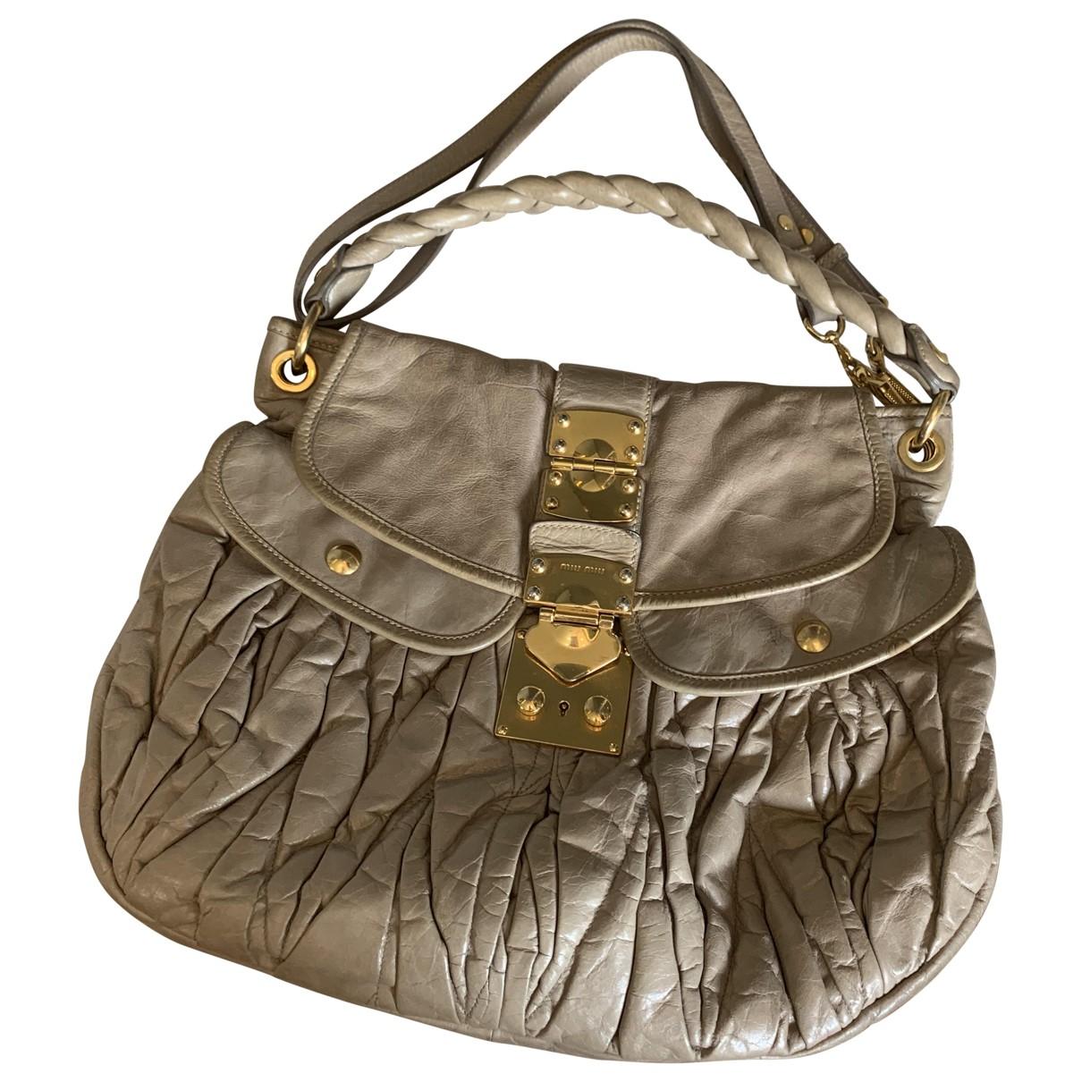 Miu Miu Matelassé Beige Leather handbag for Women \N