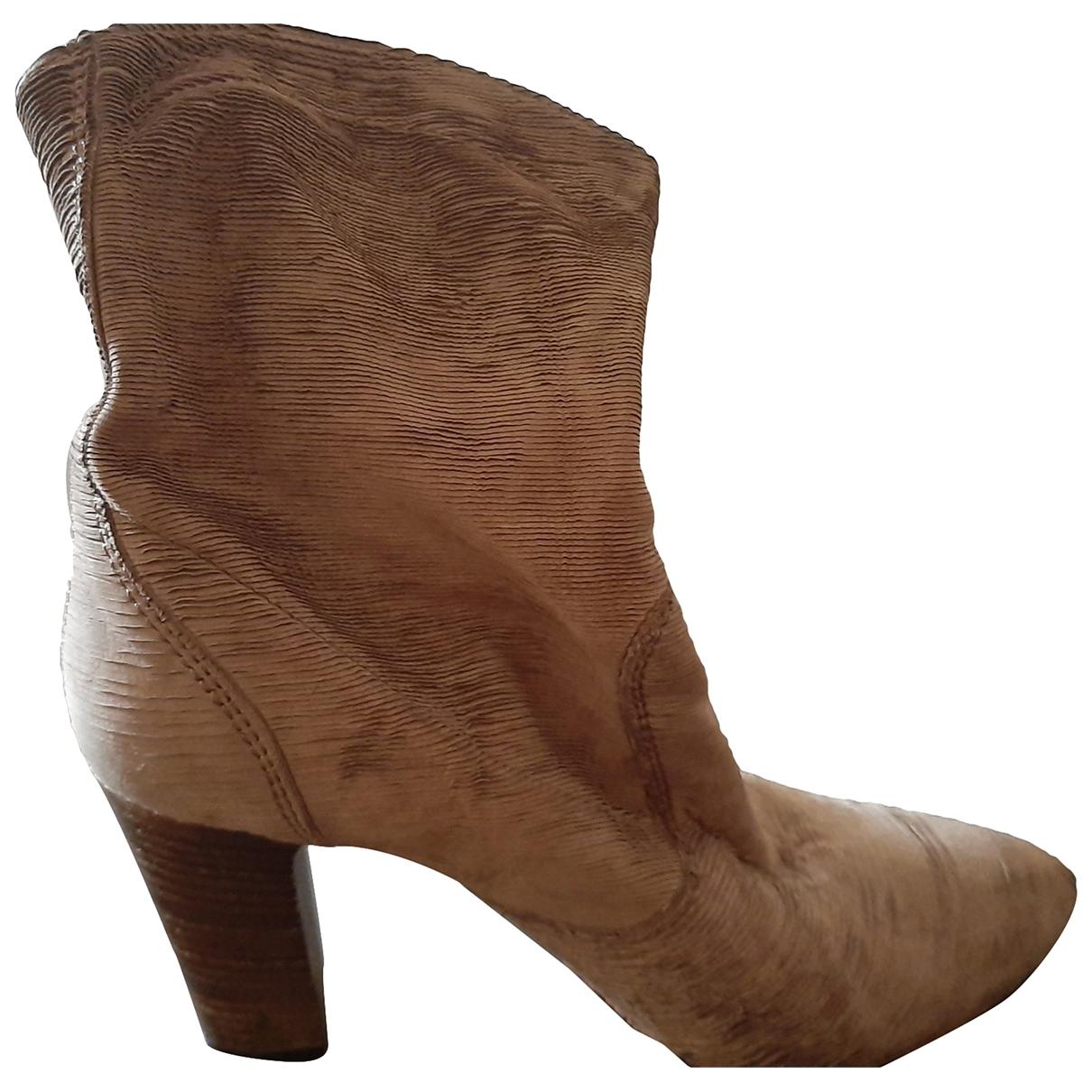 Vic Matié \N Beige Velvet Ankle boots for Women 37 EU