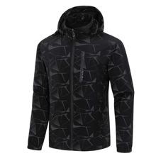 Sports Jacke mit Geo Muster, Reissverschluss und Kapuze