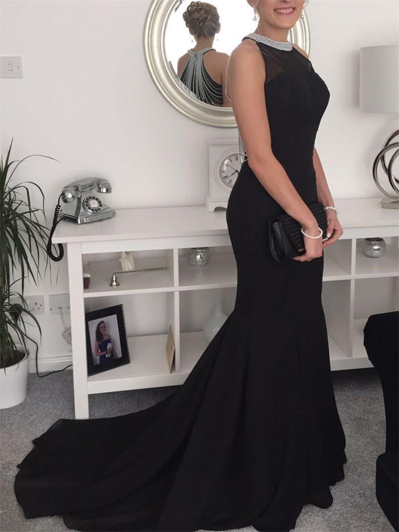 Ericdress Beading Halter Black Mermaid Evening Dress