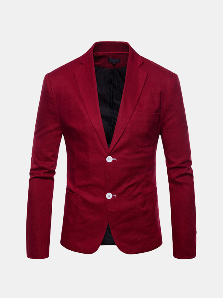 Slim Fit Solid Color Casual Solid Blazer Suits For Men