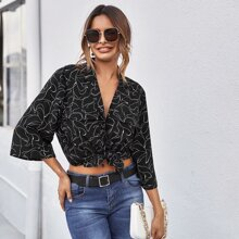 Notched Collar Flap Pocket Abstract Print Blouse