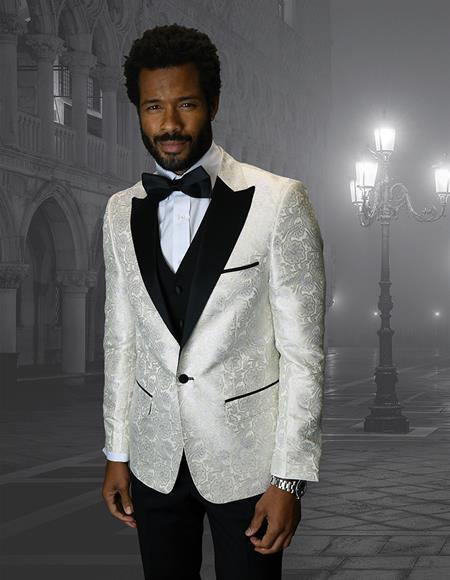 Coming Single Breasted Peak Label Ivory Cream ~ Off White Tuxedo Suit