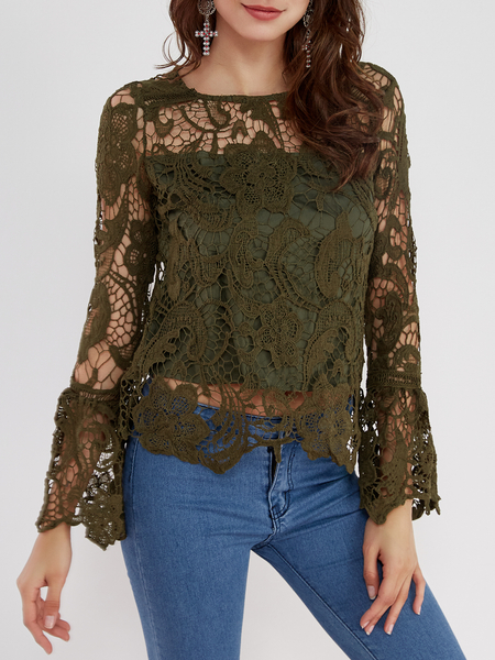 Yoins Army Green See-through Lace Details Round Neck Long Sleeves Sexy Top