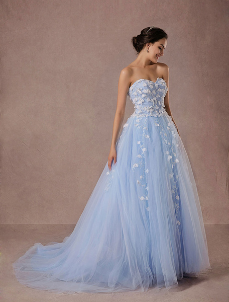 Milanoo Blue Wedding Dress Lace Tulle Chapel Train Bridal Gown Sweetheart Strapless A-Line Luxury Princess Pageant Dress