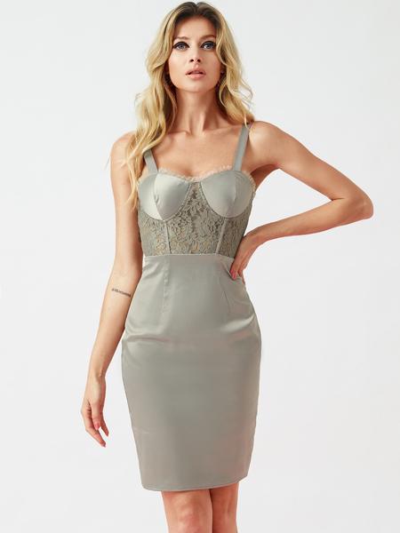 YOINS Silver Lace Patchwork Spaghetti Strap Satin Dress