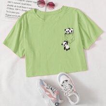 Plus Pocket & Panda Print Tee