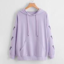 Butterfly Print Oversized Hoodie