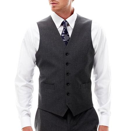 JF J. Ferrar 360 Stretch Slim Fit Suit Vest, Large , Black