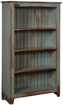 Cornelia 465114SDA 36 Bookcase with 4 Shelves  Distress Antique and Pine Wood Construction in Seafoam