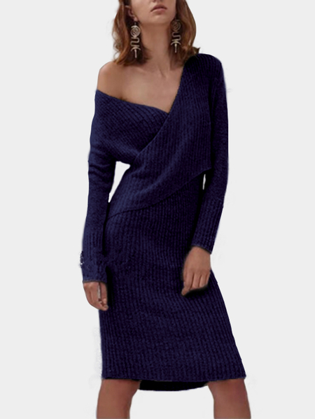 Yoins Navy Crossed Front Design V-neck Long Sleeves Sweaters Dress