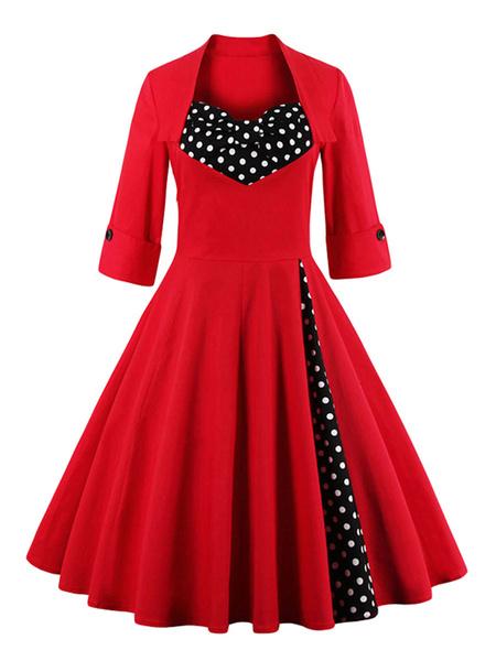 Milanoo Vestido retro Mujer de los años 50 en color borgoña Vestido de rockabilly con media joya y cuello redondo