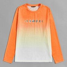 Camiseta de ombre con estampado de planeta