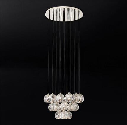 BDC01 23-Light Chandelier with Metal and Crystal Materials and 40 Watts in Polished Nickel