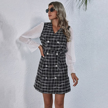 Contrast Flounce Sleeve Plaid Belted Tweed Dress