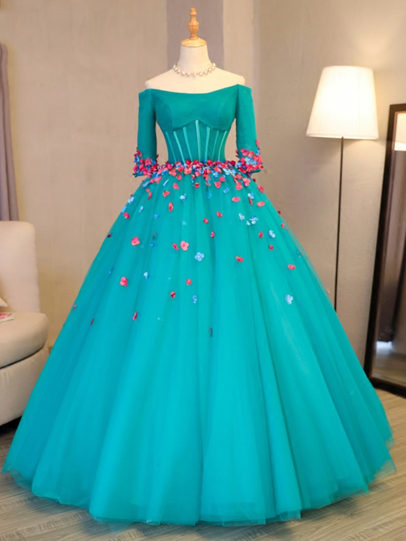 Ericdress Flowers Off-the-Shoulder Long Sleeves Quinceanera Dress