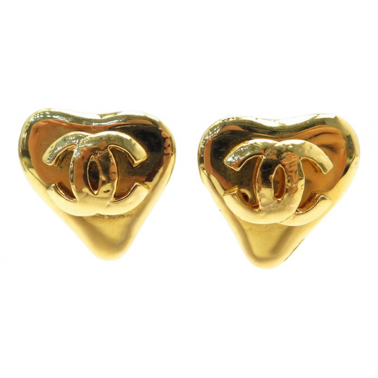 Chanel CC Gold Metal Earrings for Women N