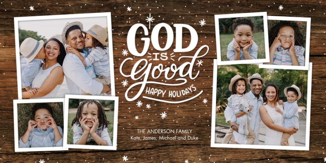 Christmas Photo Cards Flat Glossy Photo Paper Cards with Envelopes, 4x8, Card & Stationery -Christmas God Hand Lettered by Tumbalina