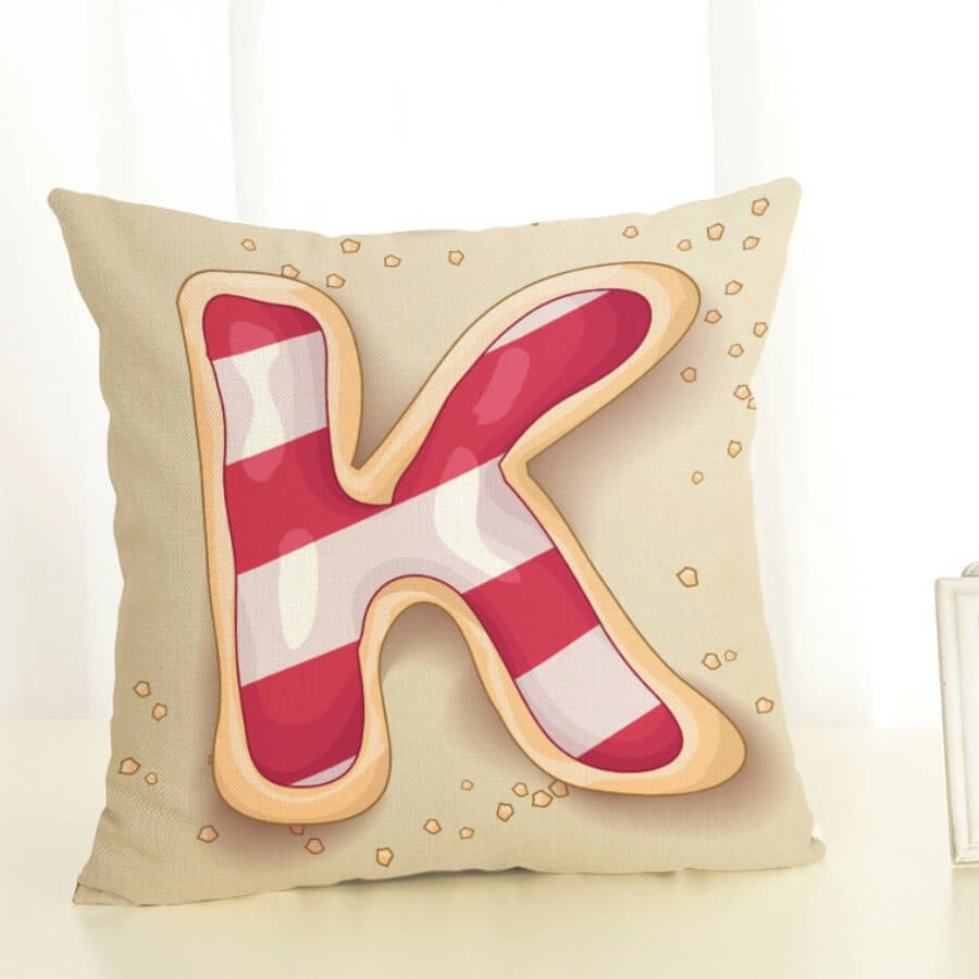 LW Lovely Letter Print Red Decorative Pillow Case