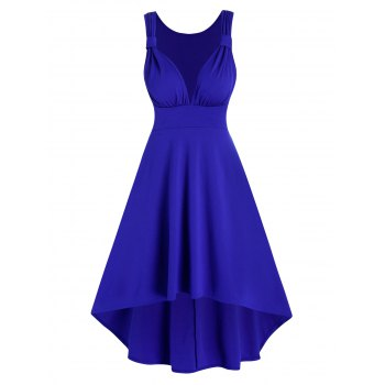 Sleeveless Ruched High Low Prom Dress