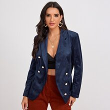 Notched Collar Pearl Buttoned Cord Blazer