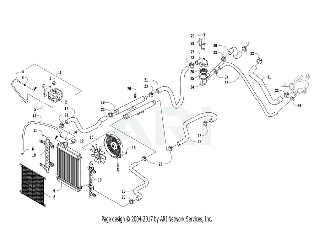 Arctic Cat OEM 3307-593 Radiator Comp