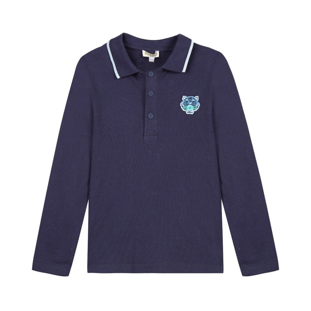 Kenzo Kids Tiger Long Sleeve Polo Shirt Navy  Colour: NAVY, Size: 8 YE