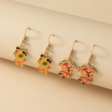 2pairs Girls Dog Drop Earrings