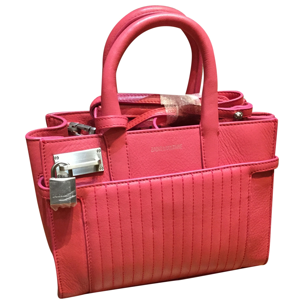 Zadig & Voltaire Candide Handtasche in  Rosa Leder