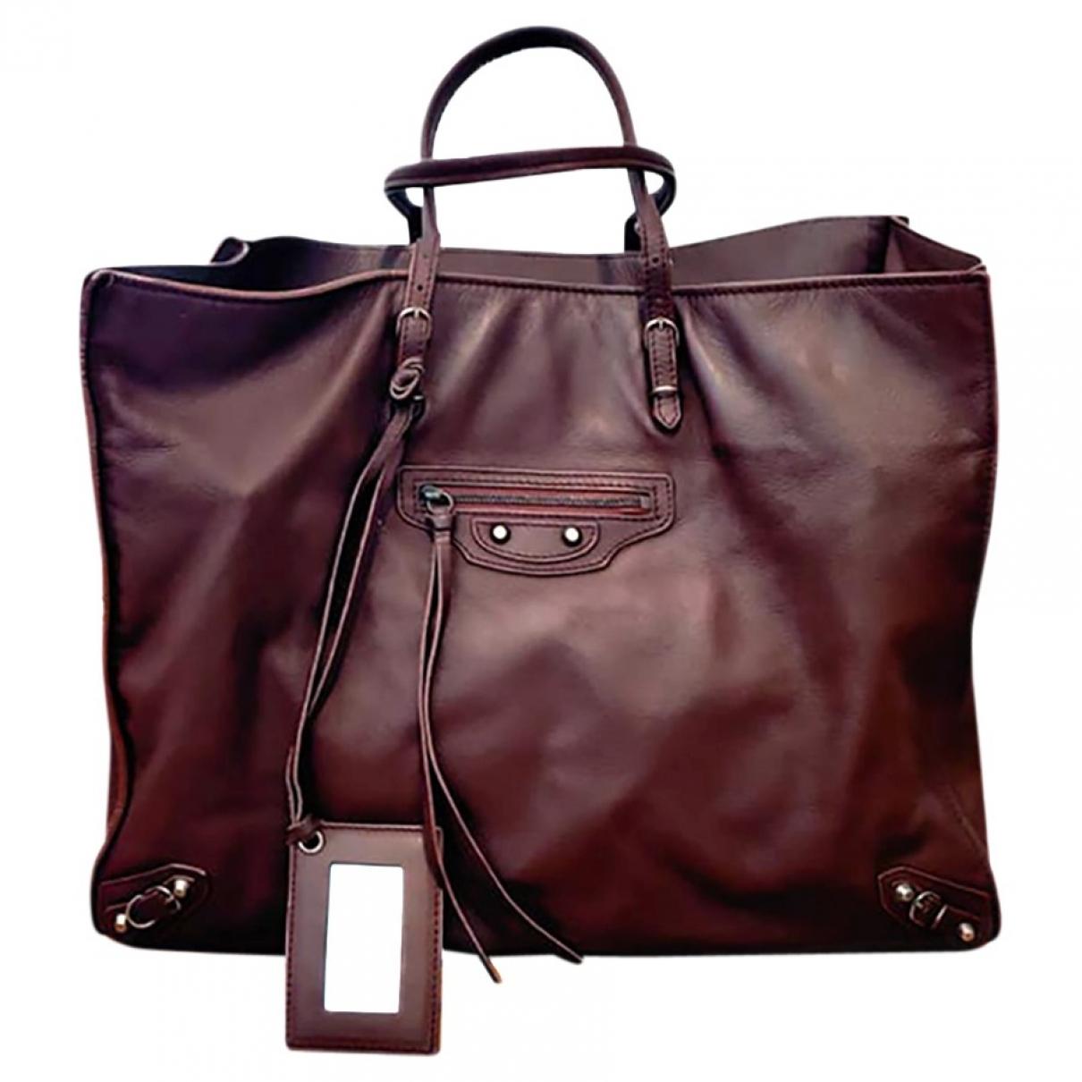 Balenciaga - Sac a main Papier pour femme en cuir - marron
