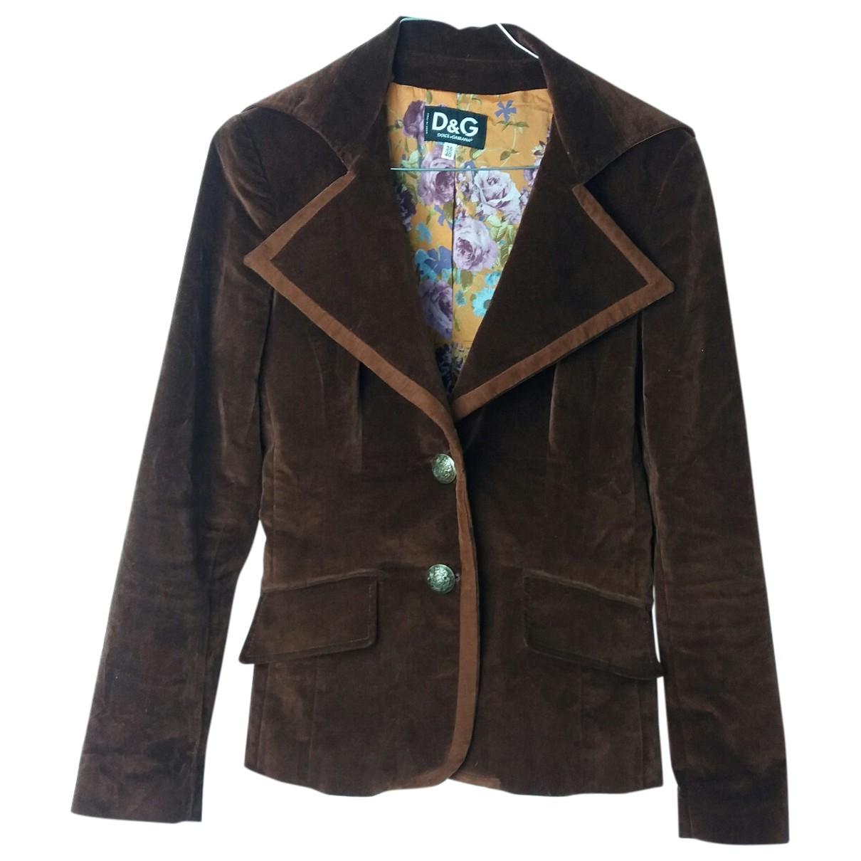D&g \N Brown Velvet jacket for Women 40 IT