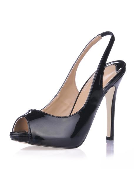 Milanoo Zapatos Peep toe de charol negro de tacon de aguja