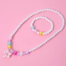 2 piezas set joya de niñitas con cuenta con perla artificial