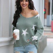 Pullover mit Stern Muster und sehr tief angesetzter Schulterpartie