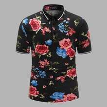 Maenner Polo Shirt mit ueberallem Blumen Muster