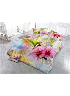 Blooming Flower Wear-resistant Breathable High Quality 60s Cotton 4-Piece 3D Bedding Sets